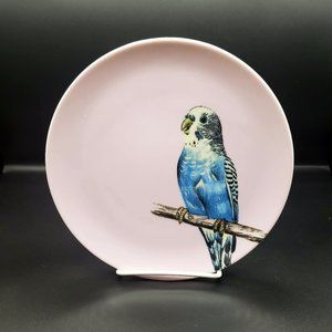 Pink and Blue Parrot Palm Beach Chic Plate